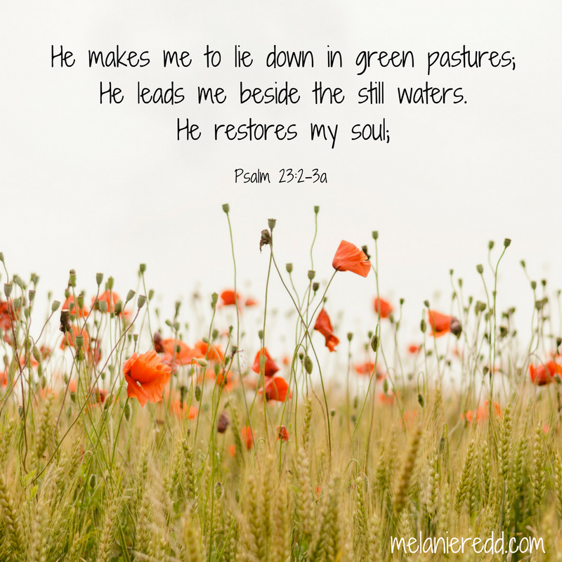 He restores my soul. Psalm 23.